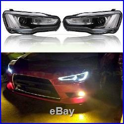 LED Headlight Tail Lamp Replace For 2008-2017 Mitsubishi Lancer EVO (Audi Style)