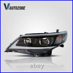 LED Headlights + Red Clear Tail Lights For Toyota Camry 2012-2014 DRL Projector