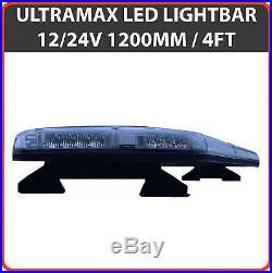 LED Light Bar 1200mm 48 12v 24v Amber Flashing Strobe Beacon Recovery Light
