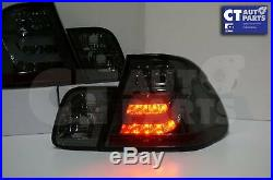 LED Light Bar Tail Lights BMW E46 98-01 4D Sedan 318i 320i 323i 330i SMOKED