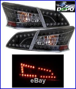 LED Tail Lights Black Housing 4 Pcs Set by DEPO Fits Nissan Sentra 2013-2018