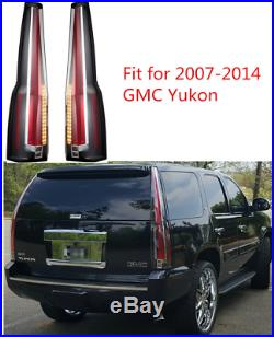 LED Tail Lights For 2007-2014 GMC Yukon Chevrolet Tahoe Suburban Red Clear Lens