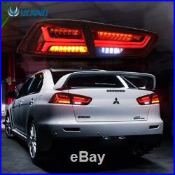 LED Tail Lights For Mitsubishi Lancer 2008-2017 EVO X Audi Look Smoked Black
