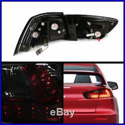 Mitsubishi 08-15 Lancer Evolution Evo X Smoke Rear Tail Lights Brake Lamp Set