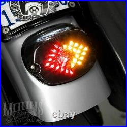 Moons V2 Smoked Low Short Laydown LED Integrated Taillight Turn Signals Harley
