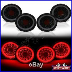NEWEST For 05-13 Corvette C6 LS7 Black Smoke Halo Sequential LED Tail Lights