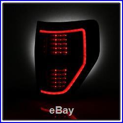NEW Black Smoke 2009-2014 Ford F150 LED Tube Tail Lights Brake Lamps Left+Right