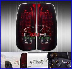 New! 03-06 Chevy Silverado 1500/2500 Hd Led Tail Lights Rear Lamps Smoked Red