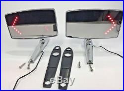 Pair (2) 1967 1968 Mustang Side Rear View Mirrors LED Turn Signal Convex Right