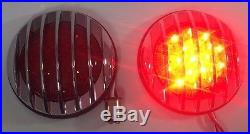 Pair Flush Fit Universal Round LED Tail Lights Hot Rod Chrome Finned Grill
