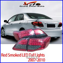 Pair LED Tail Lamps Red Smoked For Toyota Corolla ZRE152 2007-2010 Rear Lights