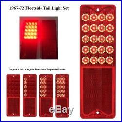 Pair Sequential 1967-1972 Chevrolet Fleetside Pickup Truck LED Brake Tail Lights