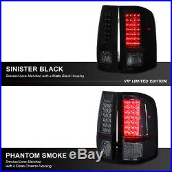 SINISTER BLACK 2007-2014 Chevy Silverado GMT Black Smoke LED Tail Lights Lamps