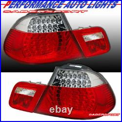 Set of Red Clear LED Taillights 4pcs for 2000-2003 BMW E46 3-Series 2dr Coupe
