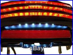 Smoke Tri-Bar Fender LED Tail Light +Bracket For Harley Softail FXST FXSTB FXSTC