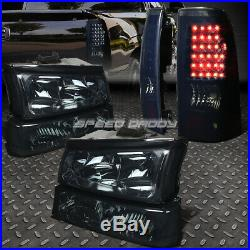 Smoked Headlight+clear Bumper+black Tinted Led Tail Light For 03-07 Silverado