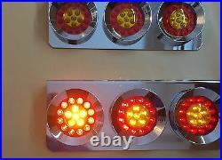 Stainless Base 24v Led Lights Chrome Hamburger Rear Lamps Lorry Truck Trailer