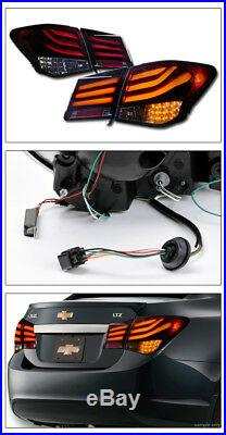 Topline For 2011-2016 Chevy Cruze LED Tube Bar Red Smoke Tail Lights 4-Pieces