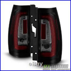 Update Style Black Smoke 2007-2014 Chevy Suburban Tahoe LED Tube Tail Lights