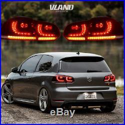 VLAND LED Tail Lights For VW GOLF MK6 GTI R 2010-2014 Cherry Red Rear Light
