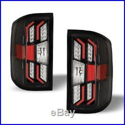 Winjet LED Tail Lights for 2014-2018 Chevrolet Silverado Black Housing Clear Len