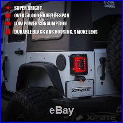 Xprite Black LED Tail Light with Smoke Lens For Jeep Wrangler JK JKU 2007 2018