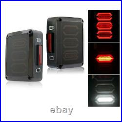 Xprite CREE LED Tail Lights Smoked Lens Reverse Turn for 07-18 Jeep Wrangler JK
