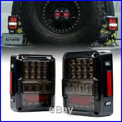 Xprite LED Tail Lights with Brake Reverse Turn Signal for 07-18 Jeep Wrangler JK